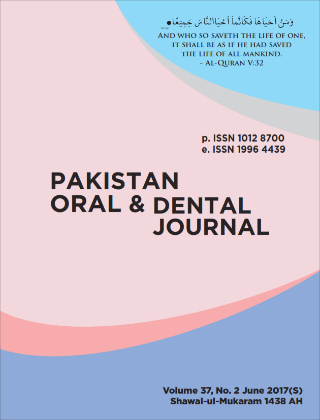 Vol 37 No 2 (2017): April-June 2017 | Pakistan Oral & Dental